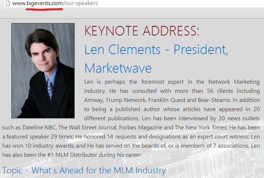 len-clements-keynote-speaker-telexfree-training-event-feb-2014
