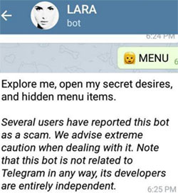 lara-with-me-bot-scam-warning-telegram