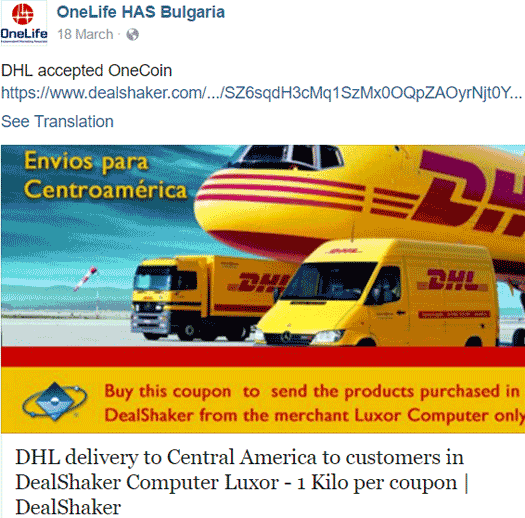 DHL threaten to terminate agents who accept OneCoin